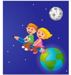 Boy and girl riding a pencil leaving the earth vector
