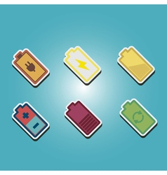 Color icons with batteries vector