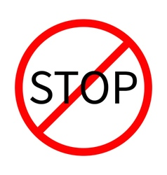 Prohibition no symbol red round stop sign template vector