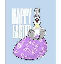 Happy easter rabbit and easter egg traditional vector