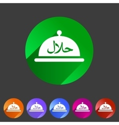 Halal food platter dish meal icon sign symbol logo vector
