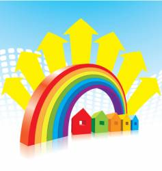 Rainbow and houses vector