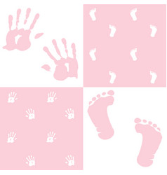 baby girl handprint footprint set vector image vector image