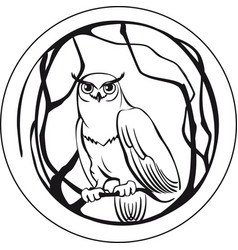 Black and white owl sitting on a branch tree vector