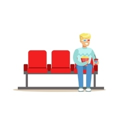 Blond guy sitting in cinema room alone with 3d vector