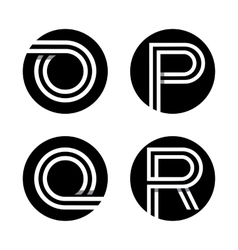 Capital letters O P Q R In a black circle vector image vector image