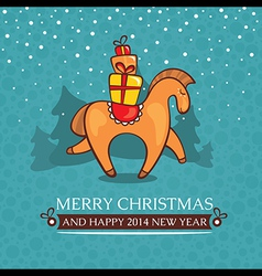 Christmas cute baby card with horse and gifts vector image