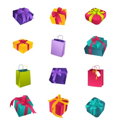 colorful birthday gifts vector image