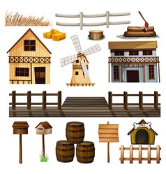 Countryside style of buildings and other objects vector
