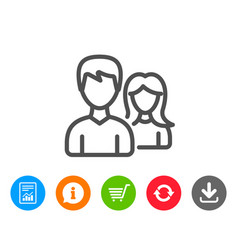 Couple line icon users or teamwork sign vector