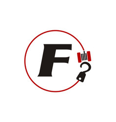 Crane hook towing letter f vector
