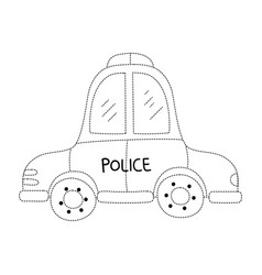 dotted shape emergency police car transport with vector image vector image
