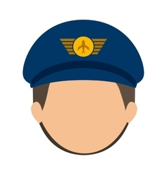 Front face pilot with hair and hat vector