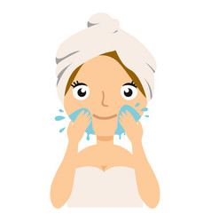 girl cleaning her face with water woman caring vector image