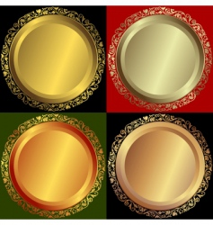golden silvery and bronze plates vector image vector image