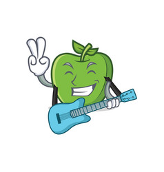 Green apple character cartoon with guitar vector