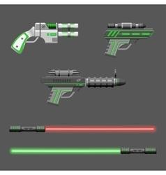 Guns set video game weapons vector