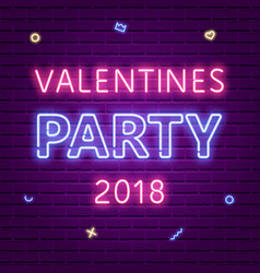 happy valentines day party 2018 neon glowing text vector image vector image