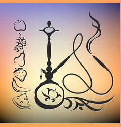hookah with different tastes silhouette vector image vector image
