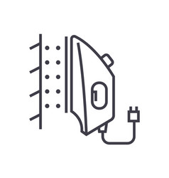 Iron steamer line icon sign vector