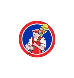 Janitor cleaner holding broom circle cartoon vector