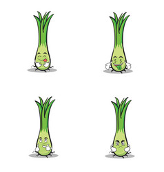 leek character cartoon style set vector image vector image