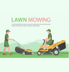Man mowing the lawn with yellow lawn mower vector