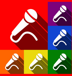 Microphone sign set of icons vector
