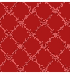 Ornamental seamless pattern with hearts on red vector