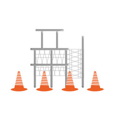 Scaffold and trafic cone vector