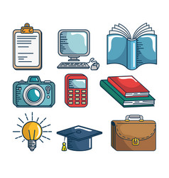 set education elements handmade drawn vector image