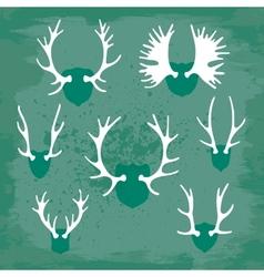 Set horns silhouettes for design vector
