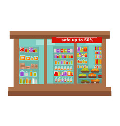 Shop or supermarket grocery store shop-window vector
