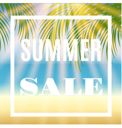 Summer sale background with palm and sun vector