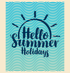 Travel summer banner with inscription and sun vector
