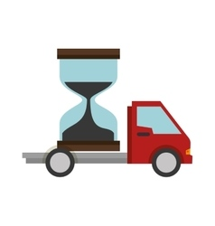 Truck delivery service with hourglass vector