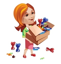 Woman buyer holding box with sweets vector