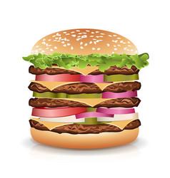 fast food realistic burger big burger icon vector image