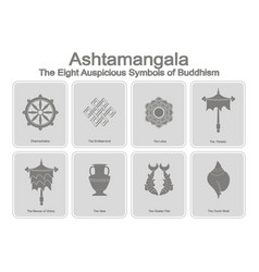 Monochrome icons set with eight auspicious symbols vector