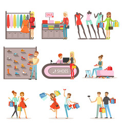 People shopping and buying clothes and shoes set vector