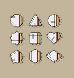 Abstract retro pop art geometrical stripe icon set vector