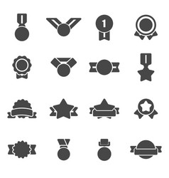 Black award medal icons set vector