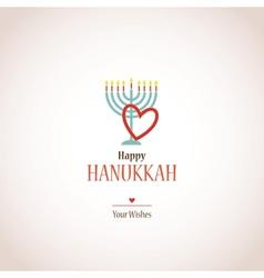 i love hanukkah hanukkah menora with heart vector image