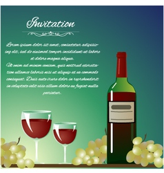 Background with bottle of wine and grapes for invi vector