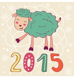 2015 card with cute funny sheep vector