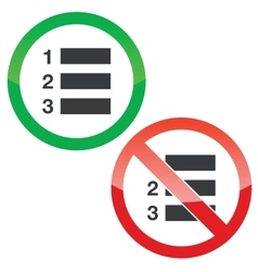 Numbered list permission signs set vector