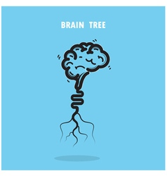 Creative brain tree abstract logo design vector
