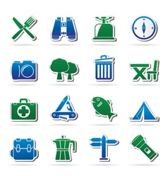 Camping tourism and travel icons vector