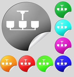 Chandelier Light Lamp icon sign Set of eight multi vector image