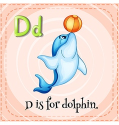 Flashcard letter D is for dalphin vector image